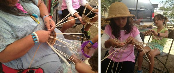 Youth learn basket weaving from a Tongva elder during L.A. Rooted's 2013 summer camp.